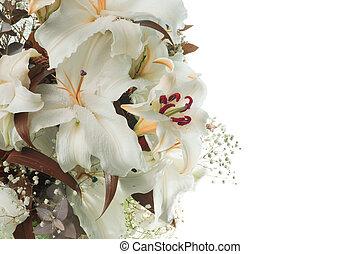 bouquet, fleur, arrière-plan., lily.