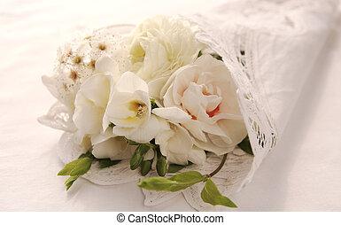 bouquet, fleur blanche