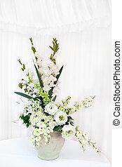 bouquet, fleur blanche, vase