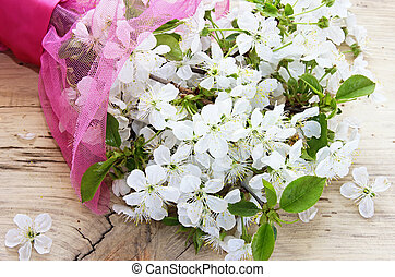 bouquet, fleur, branches, wood., cerise