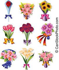 bouquet, fleur, icônes