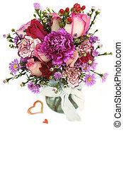 bouquet fleur, pot, valentin, verre, frais