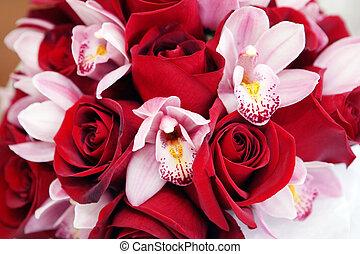 bouquet fleur, rose, élégant, mariage, orchidée