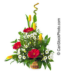 bouquet fleur, sur, isolé, clair, fond, panier, blanc