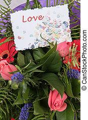 bouquet, fleurs, amour, carte