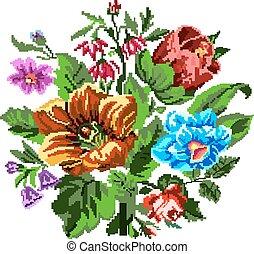 bouquet, fleurs, couleur