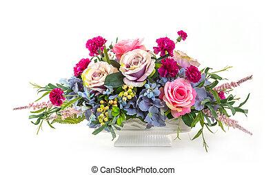 bouquet fleurs, dans, pot céramique
