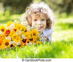 bouquet, fleurs, enfant