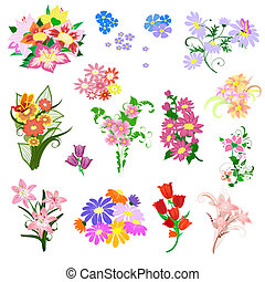 bouquet, fleurs, ensemble