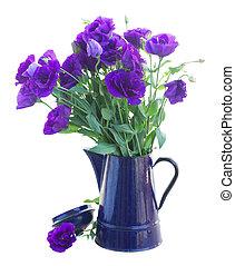 bouquet, fleurs, eustoma, violet