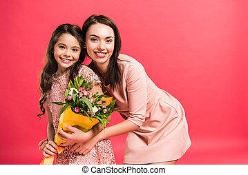 bouquet, fleurs, fille, mère