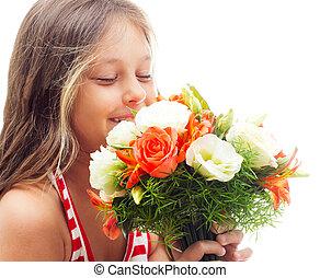 bouquet, fleurs, gosse