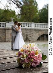 bouquet, fleurs, mariage