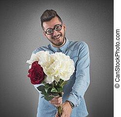 bouquet, fleurs, nerd