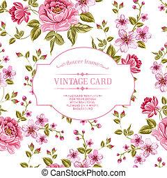 bouquet, fleurs ressort, card., vendange