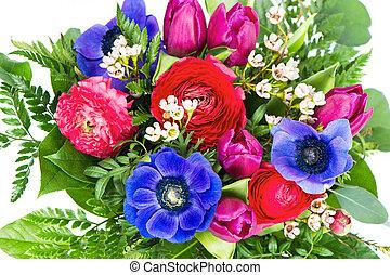 bouquet, fleurs ressort, coloré
