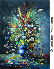 bouquet, fleurs sauvages, vase