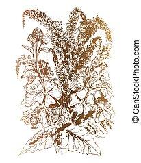 bouquet, fleurs, vecteur, illustration