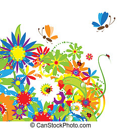 bouquet floral, été, illustration