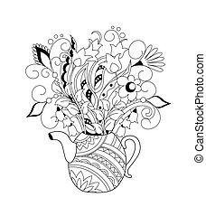 bouquet, floral, griffonnage, décoratif, théière