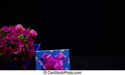 Bouquet flower and gift boxes for greeting Valentine footage...