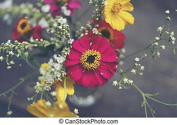 Bouquet flower in the vase, vintage filter image