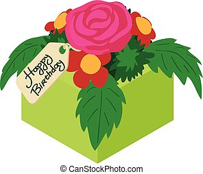 Bouquet flowers birthday icon, isometric 3d style
