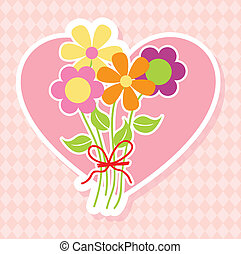 bouquet flowers over pink background. vector illustration