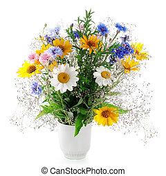 bouquet, frais, blanc, isolé, fond