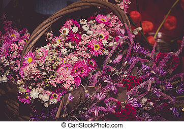 bouquet from pink dried flowers
