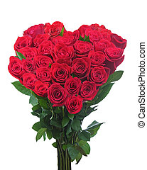 Bouquet from red roses in shape of heart isolated on white background. Closeup.