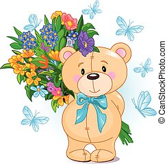 Bouquet from Teddy Bear - Cute little Teddy Bear holds a...