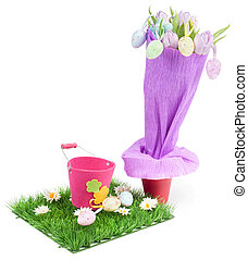 Bouquet from tulips and easter eggs