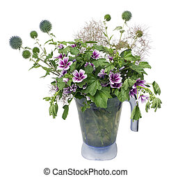 Bouquet from wild flowers thistle
