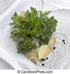 Bouquet Garni - Herbs and spices with twine and muslin, ...