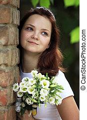 bouquet, girl
