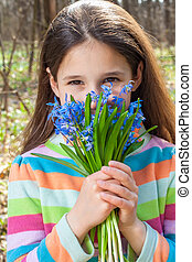 bouquet, girl, campanules