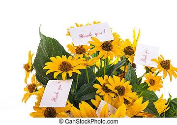 bouquet, gratitude, tournesols