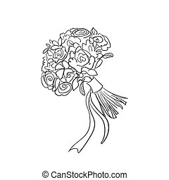 bouquet, griffonnage, nuptial
