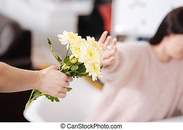bouquet, haut, main, être, femme, fin