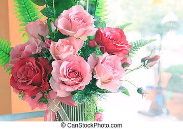 bouquet, haut, roses, esprit, fin, intérieur, maison, décoré, fleurs