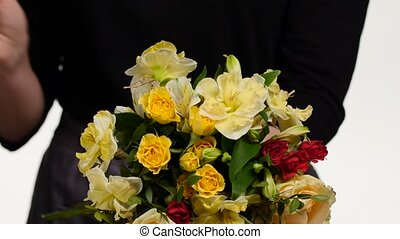 bouquet., haut, white., collects, fleuriste, fin, fleurs