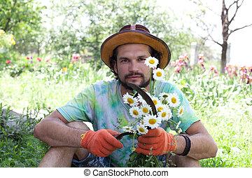 bouquet, homme, faucille, tenue, camomile