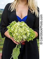 bouquet hydrangea in the hands
