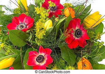 bouquet, i, forår blomstrer