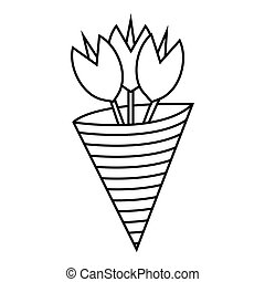 Bouquet icon, outline style