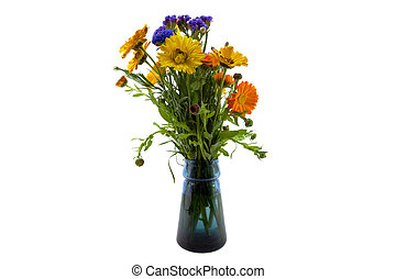 Bouquet in a blue vase