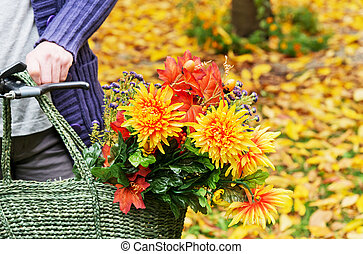 bouquet in the basket - red ripened apples in the wicker ...