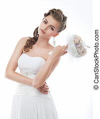 bouquet, jeune, mariée, poser, fleurs, sensuelles