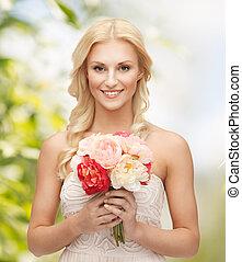 bouquet, kvinde, blomster